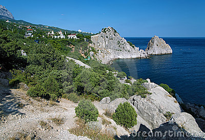 Panea and Diva rocks in the town Simeiz in Crimea
