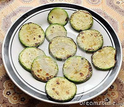 Panfried green zucchini