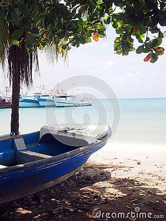 Free Panga Fishing Boat On Shore Brig Bay Big Corn Island Nicaragua C Royalty Free Stock Photo - 77860415