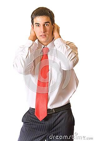Panic businessman