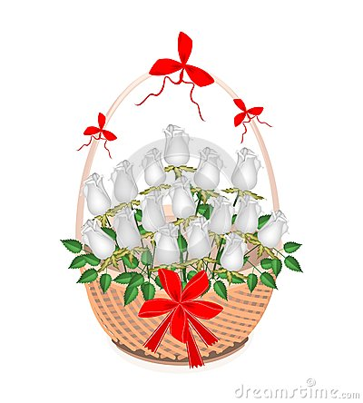 Panier de Brown de belles roses blanches