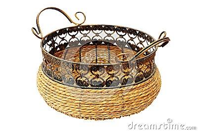 Panier en osier pour le pain ou des fruits photo stock for Ou trouver des paniers en osier