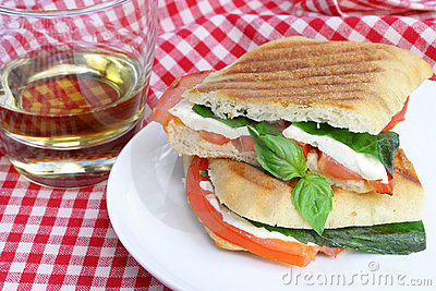 Panini Sandwich of Basil, Mozzarella and Tomatoes.