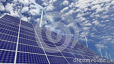 Panneaux solaires et turbines de vent clips vidéos