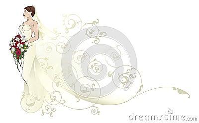 Panny młodej ślubnej sukni wzoru piękny tło