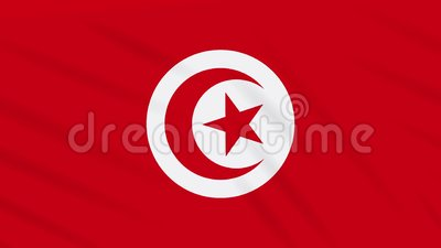 Pano de ondula??o da bandeira de Tun?sia, la?o do fundo ilustração royalty free