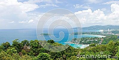 Panorama Aerial of Tropical beach Phuket Thailand