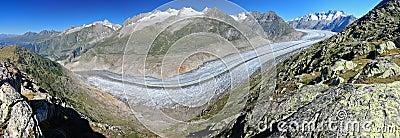 Panorama of Aletsch Glacier and summits of Valais