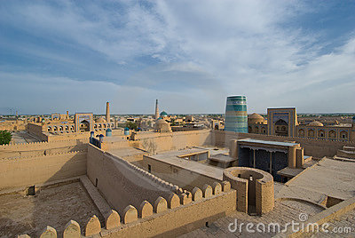 Panorama of an ancient city of Khiva, Uzbekistan