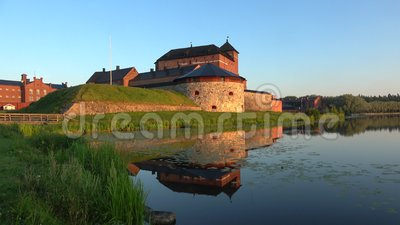 Panorama of the ancient fortress of Hameenlinna, early July morning. Finland. Panorama of the ancient fortress of Hameenlinna, July morning. Finland stock footage
