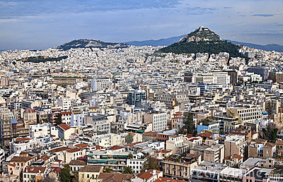 Panorama of Athens from Acropolis in Greece