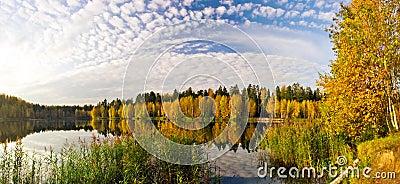 Panorama of autumnal lake