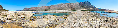 Panorama of Balos beach. View from Gramvousa Island, Crete in Greece.Magical turquoise waters, lagoons, beaches