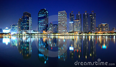 Panorama of Bangkok city at night, Thailand