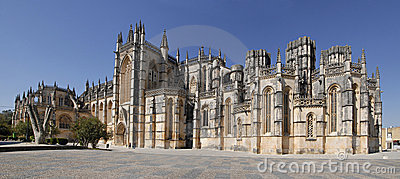 Panorama of Batalha gothic monastery in Portugal.