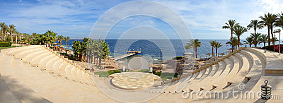 Panorama of the beach and amphitheatre at luxury hotel