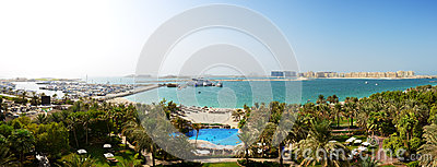 Panorama of beach with a view on Jumeirah Palm