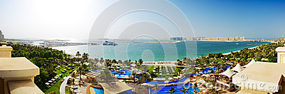 Panorama of beach with a view on Jumeirah Palm man-made island