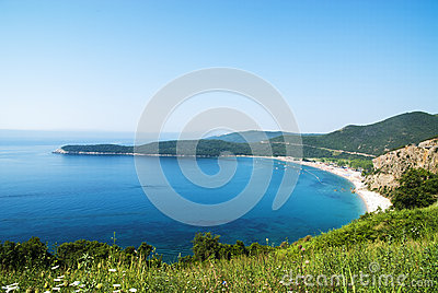 Panorama beautiful beach Jaz in Montenegro, Mediterranean