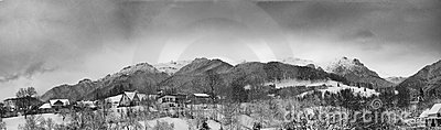 Panorama of a beautiful scenery of winter mountain