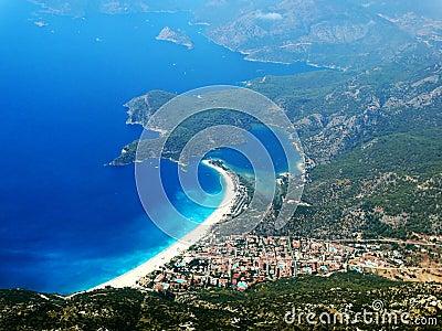 Panorama of blue lagoon and beach oludeniz turkey
