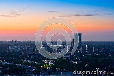 Panorama of Bonn after sunset