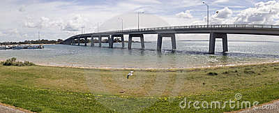 Panorama of bridge leading to Phillip Island