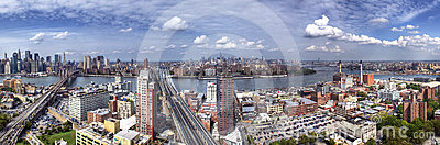 Panorama of Brooklyn, Manhattan and Queens Editorial Stock Image