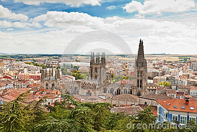 Panorama of Burgos, Spain with Burgos Cathedral