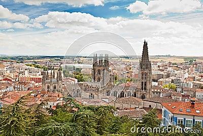 Panorama of Burgos, Spain with Burgos Cathedral