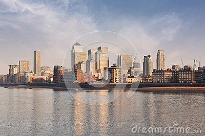 Panorama from Canary Wharf district an river Thames Editorial Image