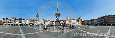 Panorama of the central square of Ceske Budejovice Editorial Photo