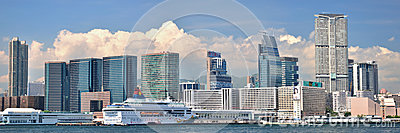 Panorama of city buildings in Hongkong harbor Editorial Photography