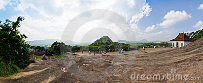 Panorama close cave temple in Dambulla Editorial Image