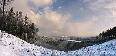 Panorama of cold and frosty snowscape