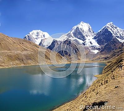 Panorama: Cordillera Huayhuash, Siula and Yerupaja