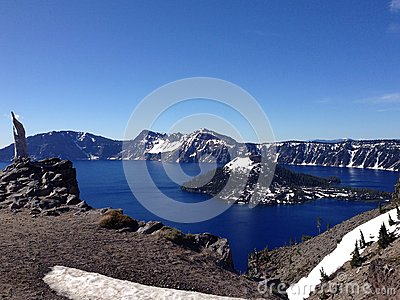 Panorama of Crater Lake National Park in Oregon, USA