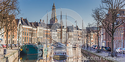Panorama of a cruiseboat in a canal in Groningen Editorial Image
