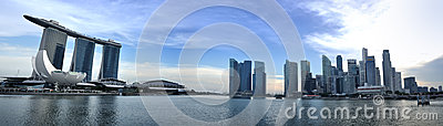 Panorama da skyline e do rio de Singapore Imagem de Stock Editorial