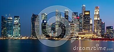 Panorama de paysage urbain de Singapour Photo stock éditorial