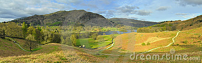 Panorama del paisaje: montaña, lago, valle, árboles