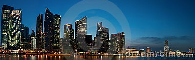 Panorama del paisaje urbano de Singapur Foto de archivo editorial