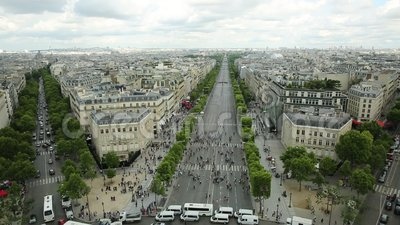 Panorama di Champs-Elysees stock footage