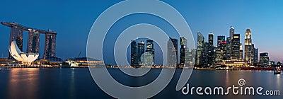 Panorama di paesaggio urbano di Singapore Fotografia Editoriale
