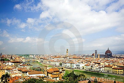 Panorama in Florence, Duomo and palazzo Vecchio