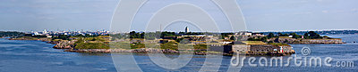 Panorama of fortress of Suomenlinn in the summer
