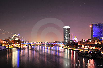 Panorama of Frankfurt city in night