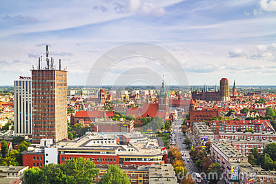 Panorama of Gdansk city centre in summer time Editorial Photography