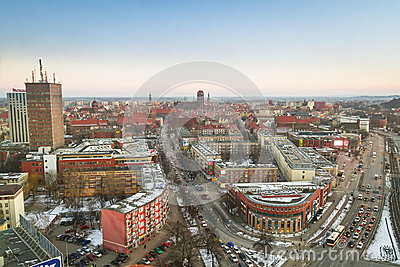 Panorama of Gdansk city centre in winter time Editorial Photo