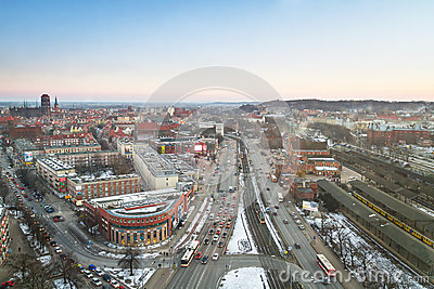 Panorama of Gdansk city centre in winter time Editorial Image